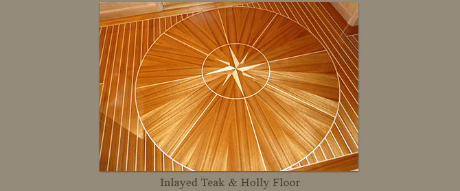 Inlayed teak and holly floor