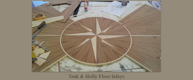 Teak and holly floor inlays